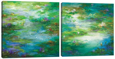 Water Lily Pond Diptych Canvas Art Print