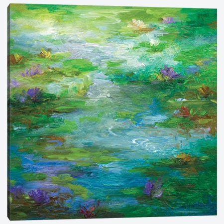 Water Lily Pond I Canvas Print #SHE41} by Sheila Finch Art Print