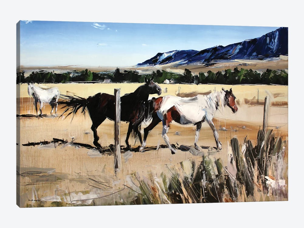 Dancing Horses, Red Lodge, MT by David Shingler 1-piece Canvas Artwork