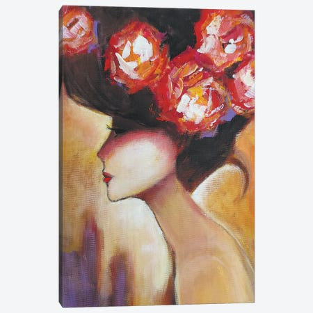 Lady With Roses Canvas Print #SHH12} by Lana Shamshurina Canvas Print