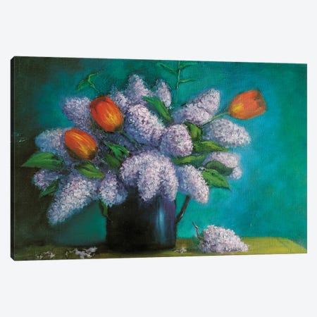 Lilac With Tulips Canvas Print #SHH21} by Lana Shamshurina Canvas Art