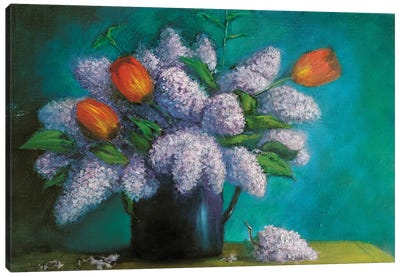 Lilac With Tulips Canvas Art Print