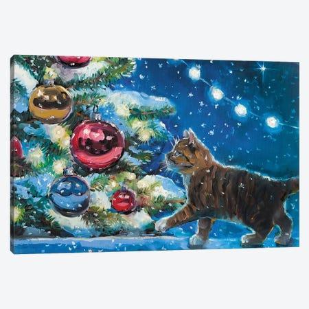 Christmas Kitten I Canvas Print #SHH22} by Lana Shamshurina Canvas Artwork