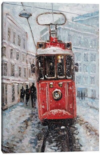 Winter Tram Canvas Art Print