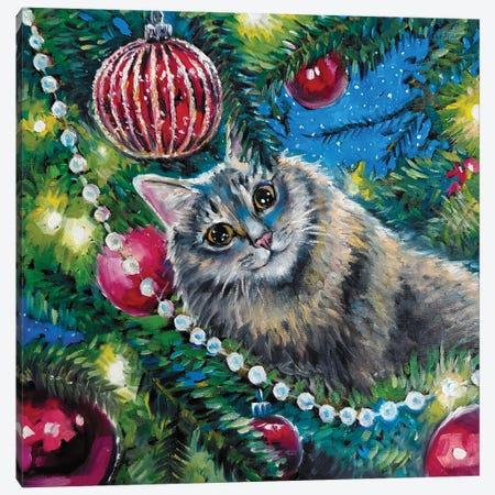 Fluffy Cat Insude Christmas Tree Canvas Print #SHH42} by Lana Shamshurina Canvas Artwork