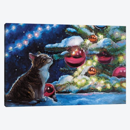 Christmas Kitten II Canvas Print #SHH43} by Lana Shamshurina Canvas Artwork