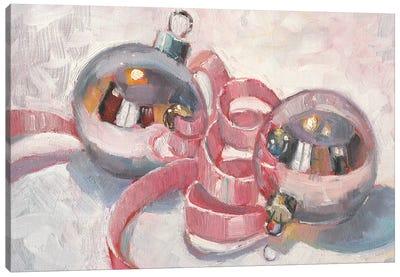 Pink Christmas Baubles Canvas Art Print