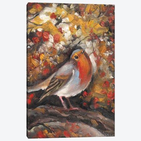 Robin Bird In Autumn Canvas Print #SHH8} by Lana Shamshurina Canvas Wall Art
