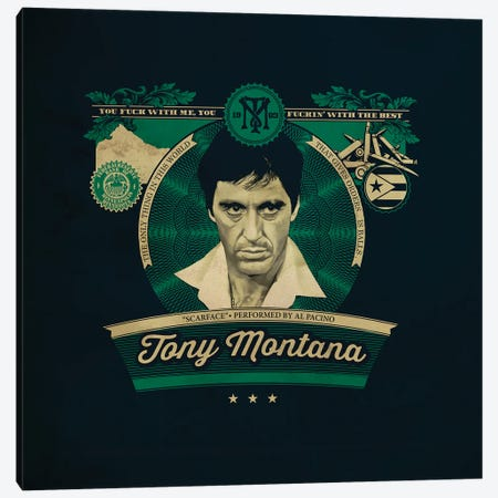 Tony Montana Canvas Print #SHI16} by Shinewall Canvas Art Print