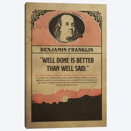 Benjamin Franklin Retro Poster Canvas Print #SHI45} by Shinewall Canvas Art