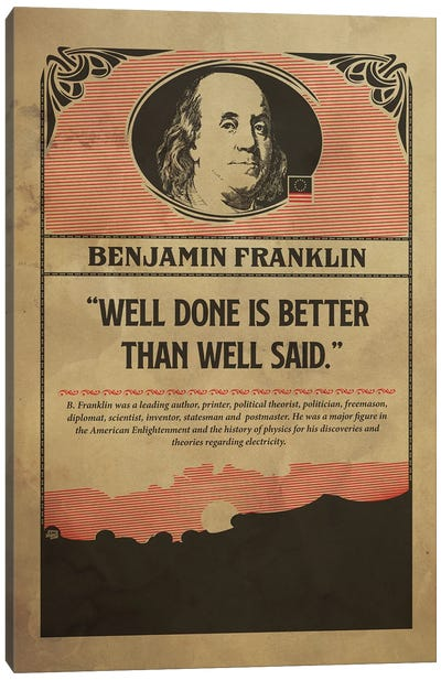 Benjamin Franklin Retro Poster Canvas Art Print