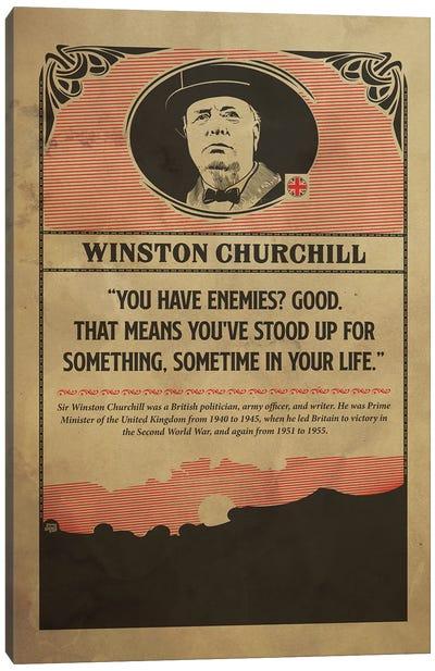 Churcill Retro Poster Canvas Art Print