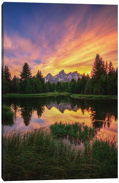 Last Rays Over The Grand Tetons Canvas Art Print