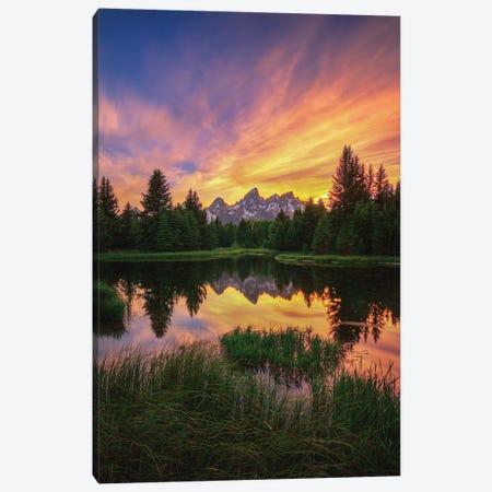 Last Rays Over The Grand Tetons Canvas Print #SHL132} by Bill Sherrell Art Print