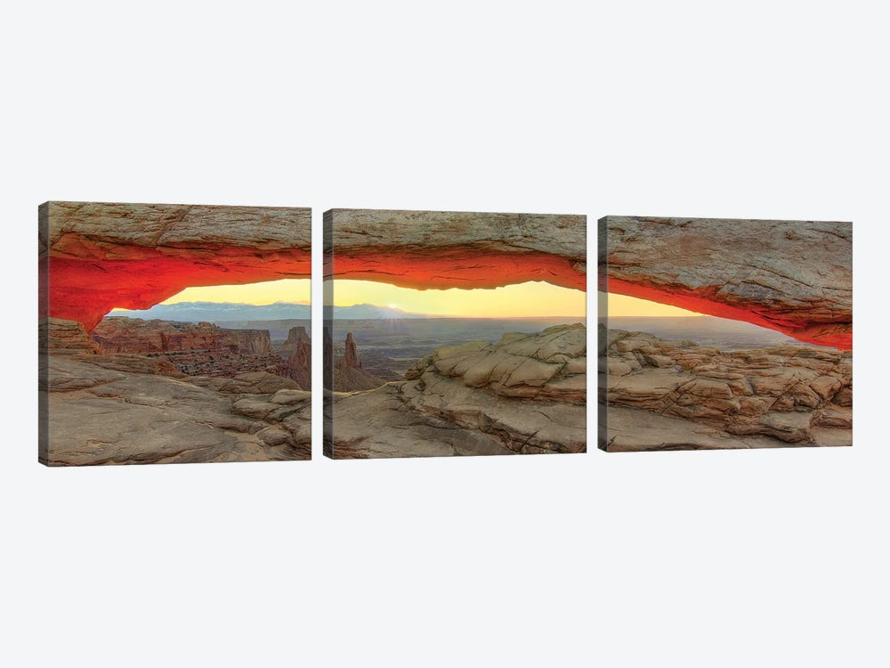 New Day Dawning At Mesa Arch by Bill Sherrell 3-piece Canvas Wall Art