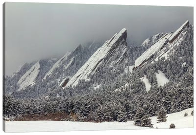Snow On The Flatirons Canvas Art Print