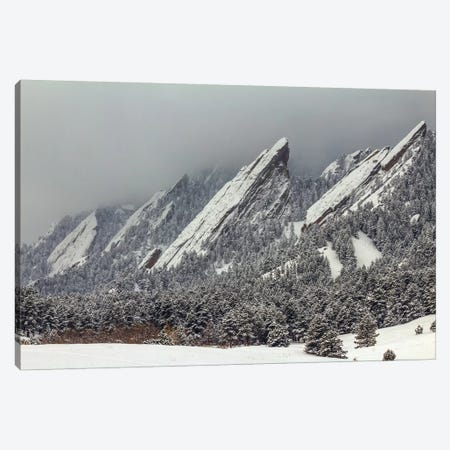 Snow On The Flatirons Canvas Print #SHL181} by Bill Sherrell Canvas Artwork