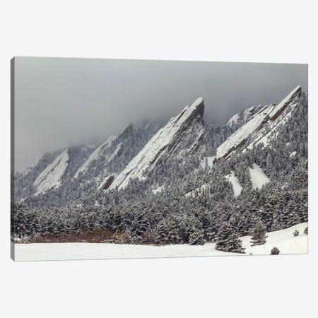 Snow On The Flatirons Canvas Print #SHL181} by Bill Sherrell Canvas Artwork