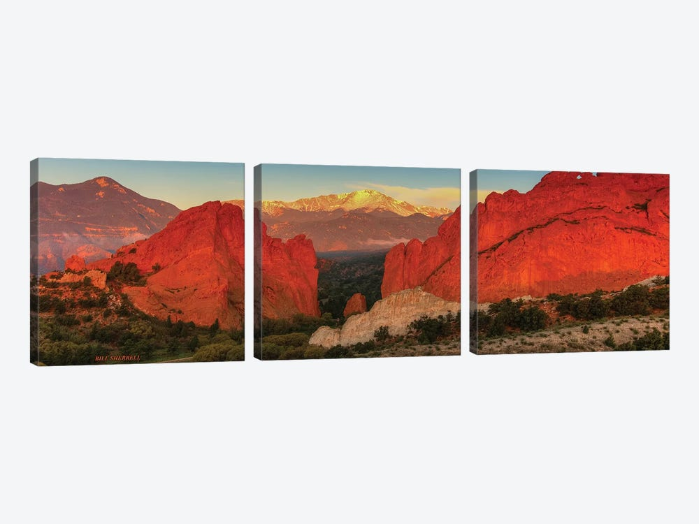 Sunrise At Garden Of The Gods by Bill Sherrell 3-piece Canvas Artwork