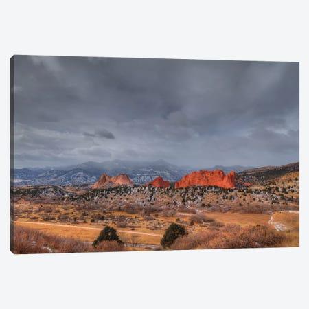 Storm Over Garden Of The Gods Canvas Print #SHL355} by Bill Sherrell Canvas Art