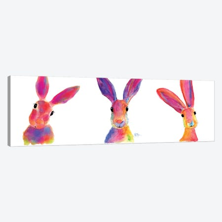 The Happy Hares Canvas Print #SHM105} by Shirley Macarthur Canvas Artwork