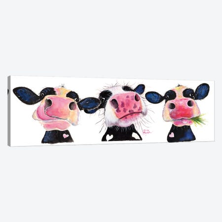 The Nosey Cows Canvas Print #SHM59} by Shirley Macarthur Canvas Artwork