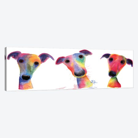 The Wacky Whippets Canvas Print #SHM64} by Shirley Macarthur Canvas Art