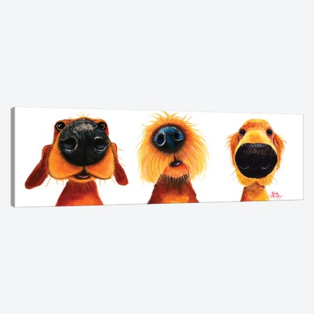 The Puppy Dogs Canvas Print #SHM73} by Shirley Macarthur Canvas Wall Art