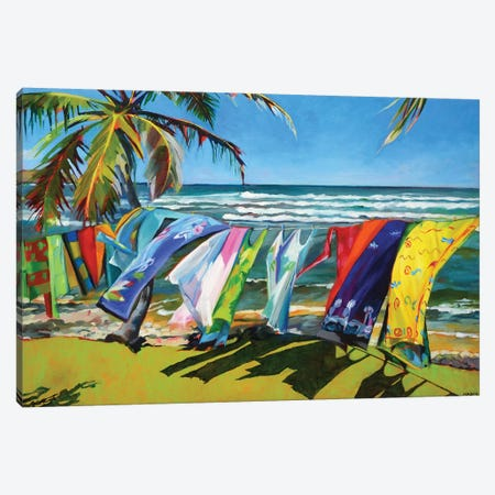 Tropical  Breezes Canvas Print #SHO30} by Maxine Shore Canvas Wall Art