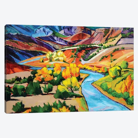 October In New Mexico 3-Piece Canvas #SHO36} by Maxine Shore Canvas Art Print