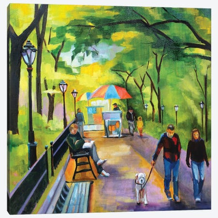 Stroll in Central Park Canvas Print #SHO53} by Maxine Shore Canvas Artwork