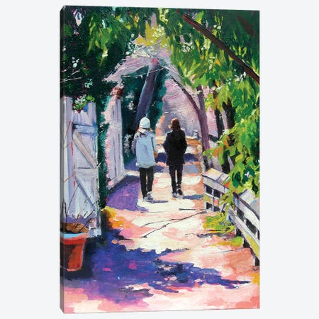 Early Morning on the Towpath 3-Piece Canvas #SHO54} by Maxine Shore Canvas Print