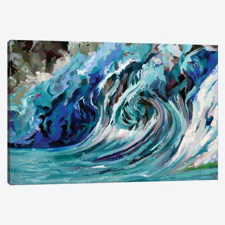 Blue Wave Canvas Print #SHO62} by Maxine Shore Canvas Art Print