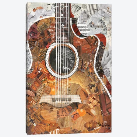 Folk Guitar Canvas Print #SHP11} by Deborah Shapiro Canvas Art Print