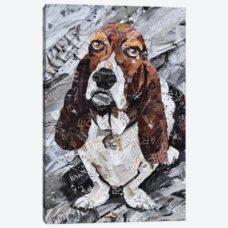 Lola the Basset Hound Canvas Print #SHP20} by Deborah Shapiro Canvas Wall Art