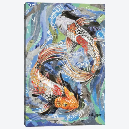 Yin Yang Koi Canvas Print #SHP53} by Deborah Shapiro Canvas Print