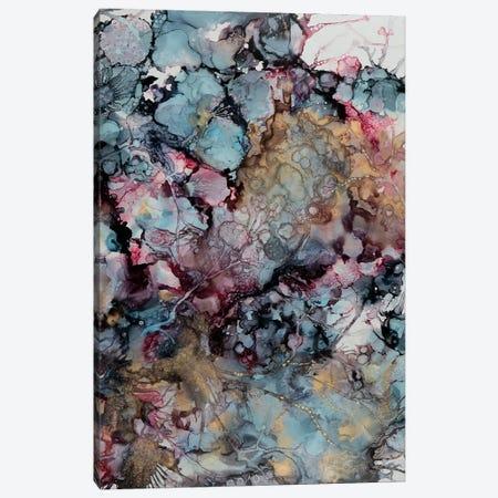 Teal & Gold Floral Canvas Print #SHW60} by Mishel Schwartz Canvas Print