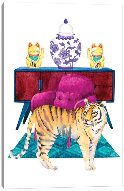 Tiger In Chinoiserie Decor Living Room Canvas Art Print