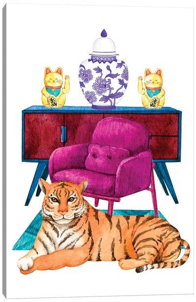 Tiger In Maximalist Decor Room Canvas Art Print