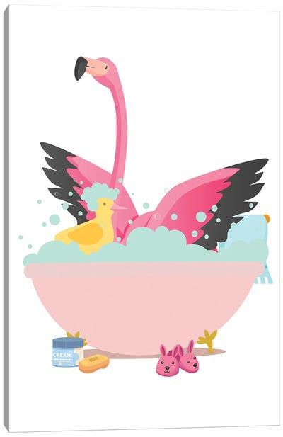 Flamingo In Bathtub Canvas Art Print