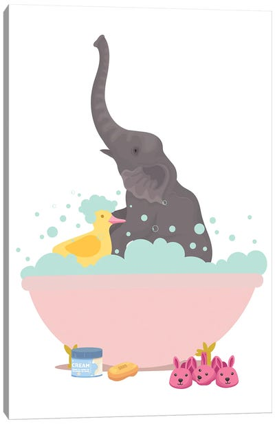 Elephant In Bathtub Canvas Art Print