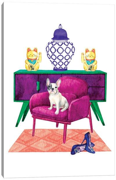 French Bulldog In Living Room Canvas Art Print