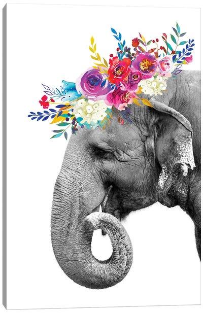 Elephant With Flower Garland Canvas Art Print