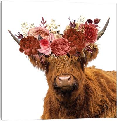 Highland Cow In Flower Garland Canvas Art Print