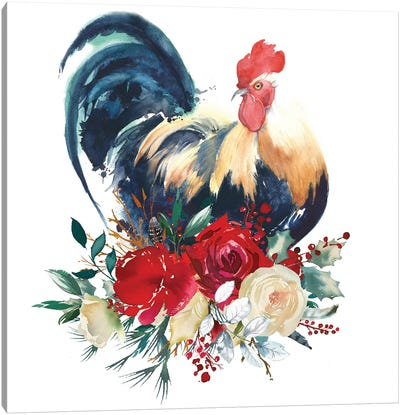 Floral Rooster Canvas Art Print