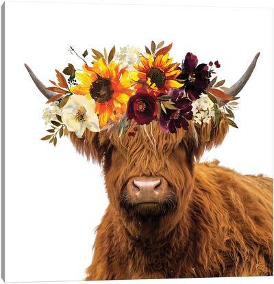 Cow In Sunflower Garland Canvas Art Print