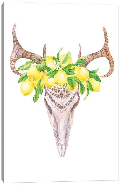 Lemons Bull Skull Print Canvas Art Print