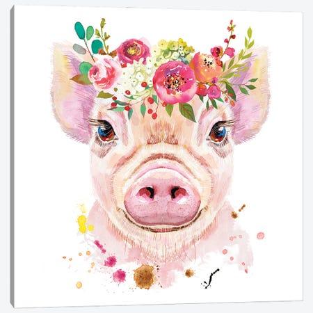 Pig Wall Art Canvas Print #SHZ39} by Jania Sharipzhanova Art Print