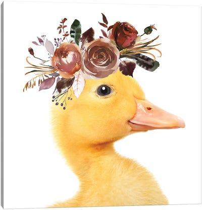 Duckling Floral Garland Canvas Art Print