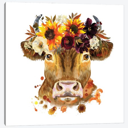 Sunflower Garland Canvas Print #SHZ42} by Jania Sharipzhanova Canvas Wall Art